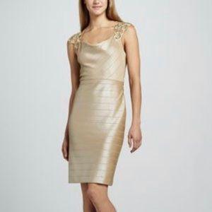 Designer gold cowl neck dress  *RETAILS $440*
